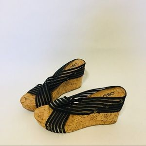 Cato cork ribbon wedges